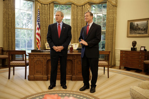 "President George W. Bush stands with Rep. Christopher Cox, his nominee for Chairman of the Securities and Exchange Commission, Thursday, June 2, 2005, in the Oval Office. Said the President of the Congressman, ""As a champion of the free enterprise system in Congress, Chris Cox knows that a free economy is built on trust."" White House photo by Eric Draper"