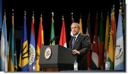 President George W. Bush delivers remarks at the opening of the Organization of American States General Assembly in Ft Lauderdale, Florida, Monday, June 6, 2005.  White House photo by Eric Draper