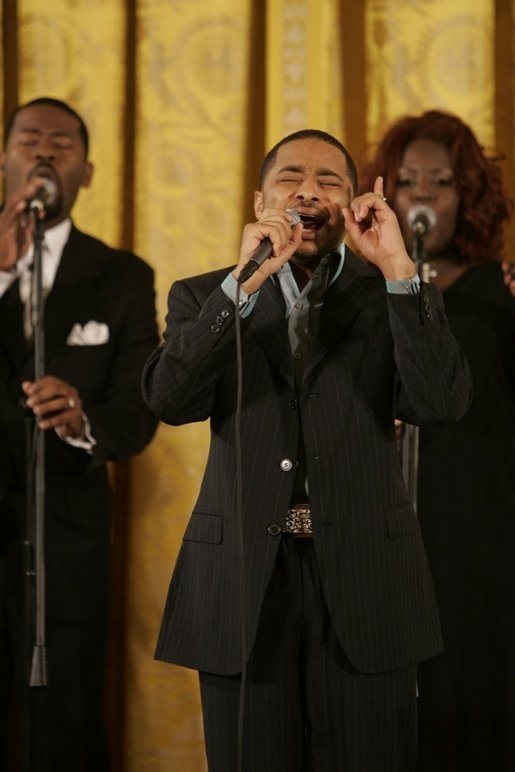 Smokie Norful performs in the East Room of the White House Monday, June 6, 2005, during a celebration of Black Music Month at the White House. White House photo by Krisanne Johnson