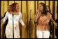 Sisters Erica and Tina Campbell of the singing group Mary Mary, perform for the President and First Lady in the White House Monday, June 6, 2005, during a celebration of Black Music Month. White House photo by Krisanne Johnson