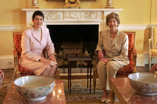 Laura Bush meets with Klara Dobrev, wife of Prime Minister of Hungary, in the Yellow Oval Room in the private residence of the White House Monday, June 6, 2005. White House photo by Paul Morse