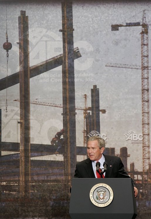 "During his address to the Associated Builders and Contractors, President George W. Bush discusses Social Security in Washington, D.C., Wednesday, June 8, 2005. ""I think the best way to make sure that people have got real assets in the Social Security system, not just IOUs in a file cabinet, is to let younger workers take some of their own money, if they so choose, a voluntary program, and set up a personal savings account,"" said the President. White House photo by Paul Morse"
