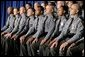 "Members of the Ohio State Highway Patrol listen as President George W. Bush speaks about the Patriot Act at the Ohio State Highway Patrol Academy in Columbus, Ohio, Thursday, June 9, 2005. ""Every day the men and women of law enforcement use the Patriot Act to keep America safe. It's the nature of your job that many of your most important achievements must remain secret,"" said the President in his remarks. ""Americans will always be grateful for the risks you take, and for the determination you bring to this high calling."" White House photo by Eric Draper"