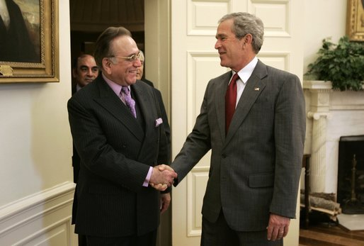 President George W. Bush welcomes Foreign Minister Kurshid Mahmood Kasuri of Pakistan to the Oval Office Thursday, June 9, 2005. White House photo by Paul Morse