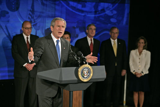 "President George W. Bush discusses the Patriot Act at the National Counterterrorism Center in McLean, Va., Friday, June 10, 2005. ""The Patriot Act has made a difference for those on the front line of taking the information you have gathered and using it to protect the American people,"" said the President. White House photo by Eric Draper"
