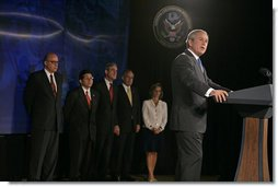 "President George W. Bush discusses the Patriot Act at the National Counterterrorism Center in McLean, Va., Friday, June 10, 2005. ""The Patriot Act has helped save American lives and it's protected American liberty,"" said the President. ""For the sake of our national security, the United States Congress needs to renew all the provisions of the Patriot Act, and this time Congress needs to make those provisions permanent.""  White House photo by Eric Draper"