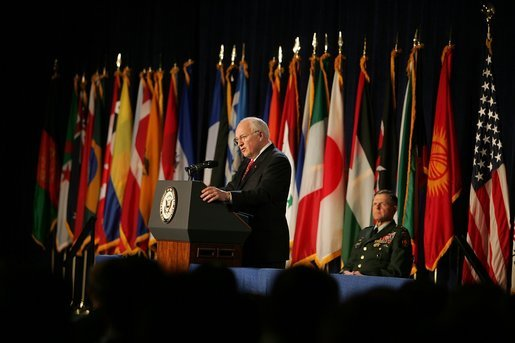 "Vice President Dick Cheney speaks during the closing ceremonies of U.S. Special Operations Command's International Special Forces Week in Tampa, Fla., Friday, June 10, 2005. ""I see regular evidence of your unparalleled skill, your ingenuity, and your daring. Every single day SOCOM confirms its reputation as a small command that produces big results for the United States of America,"" said Vice President Cheney. White House photo by David Bohrer"