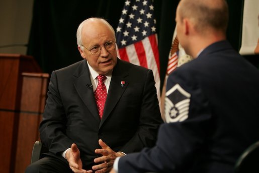 Vice President Dick Cheney participates in an interview with Sean Lehman of the Pentagon Channel TV and Radio Service during a visit to the U.S. Special Operations Command headquarters at MacDill Air Force Base in Tampa, Fla., Friday, June 10, 2005. White House photo by David Bohrer