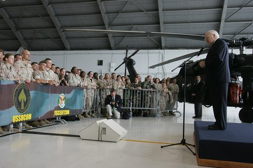 Vice President Dick Cheney addresses U.S. military and their families during a visit to MacDill Air Force Base in Tampa, Fla., Friday, June 10, 2005. White House photo by David Bohrer