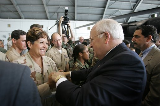 Vice President Dick Cheney shakes hands with members of the U.S. military during a visit to MacDill Air Force Base in Tampa, Fla., Friday, June 10, 2005. White House photo by David Bohrer