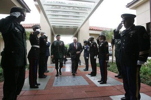 Vice President Dick Cheney walks with General Doug Brown, Commander, Special Operations Command, during a visit to U.S. Special Operations Command headquarters at MacDill Air Force Base in Tampa, Fla., Friday, June 10, 2005. White House photo by David Bohrer