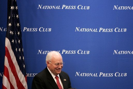 Vice President Dick Cheney prepares to address the National Press Club during a luncheon honoring the recipients of the Gerald R. Ford Journalism Awards in Washington, D.C., Monday, June 13, 2005. White House photo by Paul Morse