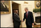 "Meeting with the leaders from Mozambique, Botswana, Niger, Ghana and Namibia, President George W. Bush welcomes President Festus Mogae of Botswana to the Oval Office Monday, June 13, 2005. The leaders discussed a range of topics, including AGOA. ""All the Presidents gathered here represent countries that have held democratic elections in the last year,"" said President Bush. ""What a strong statement that these leaders have made about democracy and the importance of democracy on the continent of Africa."" White House photo by Eric Draper"