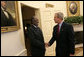 "Meeting with the leaders from Mozambique, Botswana, Niger, Ghana and Namibia, President George W. Bush welcomes President Hifikepunye Pohamba of Namibia to the Oval Office Monday, June 13, 2005. The leaders discussed a range of topics, including AGOA. ""All the Presidents gathered here represent countries that have held democratic elections in the last year,"" said President Bush. ""What a strong statement that these leaders have made about democracy and the importance of democracy on the continent of Africa."" White House photo by Eric Draper"