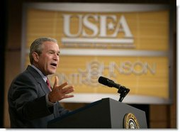 "President George W. Bush delivers remarks on energy to the 16th Annual Energy Efficiency Forum in Washington, D.C., Wednesday, June 15, 2005. ""By advancing the national dialogue on the future of energy, you're helping us support the cause of energy efficiency,"" said the President. ""And that's critical for our economy and it's critical for the future of this nation."" White House photo by Eric Draper"