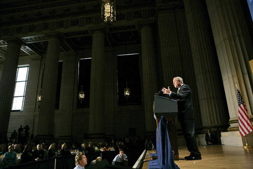 "President George W. Bush delivers remarks at the National Hispanic Prayer Breakfast at the Andrew Mellon Auditorium in Washington, D.C., Thursday, June 16, 2005. ""In America, people of faith have no corner on compassion, but people of faith need compassion to be true to the call to ""Ame al projimo como a sí mismo,"" love your neighbor like you'd like to be loved yourself. That's a universal call,"" said the President. White House photo by Eric Draper"