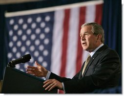 "President George W. Bush discusses Medicare at the U.S. Department of Health and Human Services Thursday, June 16, 2005. ""Medicare now covers preventive screenings that can catch illness from diabetes to heart disease,"" said the President. ""Medicare is covering innovative programs to help seniors with chronic diseases like high blood pressure. I urge every senior to take advantage of these new benefits in Medicare."" White House photo by Eric Draper"