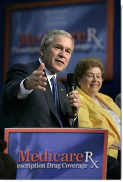 President George W. Bush makes a point during a Conversation on Medicare in Maple Grove, Minn., Friday, June 17, 2005. White House photo by Eric Draper