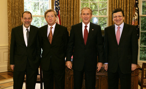 President George W. Bush stands with European Union leaders Monday, June 20, 2005, in the Oval Office. From left are: Javier Solana, Foreign Policy Chief of the European Union; Jean-Claude Juncker, European Union President; President Bush, and EU Commission President Jose Manuel Barroso. White House photo by Eric Draper
