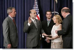 President George W. Bush attends the swearing-in ceremony for Dr. Ben Bernanke as the Chairman of the Council of Economic Advisors in the Dwight D. Eisenhower Executive Office Building Tuesday, June 21, 2005.  White House photo by Paul Morse