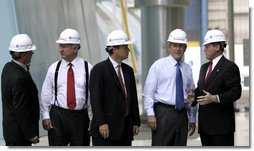President George W. Bush tours the turbine room of Calvert Cliffs Nuclear Power Plant in Lusby, Md., Wednesday, June 22, 2005. After his tour, the President spoke about energy and economic security to about 400 in attendance.  White House photo by Paul Morse