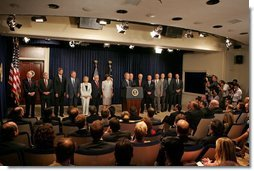 President George W. Bush delivers a statement about CAFTA in the Dwight D. Eisenhower Executive Office Building Thursday, June 23, 2005.  White House photo by Krisanne Johnson