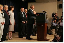 "President George W. Bush delivers a statement about CAFTA in the Dwight D. Eisenhower Executive Office Building Thursday, June 23, 2005. ""For the young democracies of Central America and the Dominican Republic, CAFTA would continue the current trade benefits,"" said President Bush. ""That means good jobs and higher labor standards for their workers.""  White House photo by Krisanne Johnson"