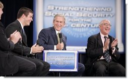 President George W. Bush shares in the on-stage laughter Thursday, June 23, 2005, as he's joined by Ben Ferguson, far left, Brian Smart, and Ben Stein during his Conversation on Strengthening Social Security at Montgomery Blair High School in Silver Spring, Maryland.  White House photo by Paul Morse