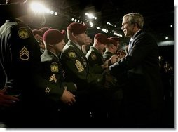 President George W. Bush greets soldiers after delivering remarks on the war on terror at Fort Bragg, North Carolina, Tuesday, June 28, 2005.  White House photo by Eric Draper