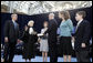 With President George Bush looking on, Supreme Court Justice Sandra Day O'Connor swears in Michael Chertoff as Secretary of Homeland Security during ceremonies March 3, 2005, in Washington. The Justice submitted her resignation after 24 years on the High Court in a letter to the President Friday, July 1, 2005. File photo. White House photo by Paul Morse