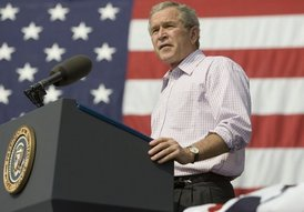 President George W. Bush speaks to an Independence Day crowd in Morgantown, W.Va., Monday, July 4, 2005.
