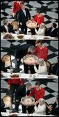 Pictured in this 3-picture combination, President George W. Bush has a little birthday fun with a cake presented to him for his 59th birthday by Her Majesty Queen Margrethe II of Denmark at Fredensborg Palace Wednesday, July 6, 2005. White House photo by Eric Draper