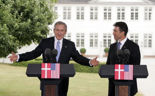 "President George W. Bush and Danish Prime Minister Anders Fogh Rasmussen hold a joint press conference at his summer residence in Marienborg in Kongens Lyngby, Denmark, Wednesday, July 6, 2005. ""Over a million people die of malaria on the continent of Africa on an annual basis, most of whom are under five years old,"" said the President talking about some of the issue that will be discussed at the G8 Summit. ""This is a problem we can solve. I laid out an initiative the other day for $1.2 billion to help eradicate the scourges of malaria on the continent of Africa."" White House photo by Paul Morse"
