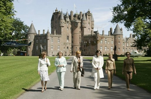 Spouses of G8 leaders leave Glamis Castle in Auchterarder, Scotland, Thursday, July 7, 2005. With Mrs. Bush are, from left: Margarida Sousa Uva of Portugal; Sheila Martin of Canada; Lyudmila Putina of Russia; Cherie Blair of England, and Doris Schroeder-Koepf of Germany. White House photo by Krisanne Johnson