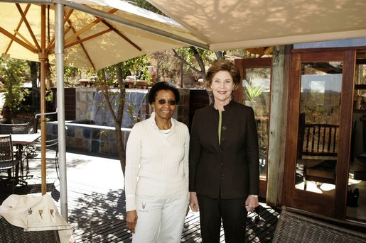 Laura Bush meets with Mrs. Zanele Mbeki, wife of South African President Thabo Mbeki Monday, July 11, 2005, at the Etali Lodge in the Madikwe Game Reserve in South Africa. White House photo by Krisanne Johnson