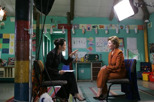 Laura Bush participates in an interview with Ann Curry of The Today Show in Cape Town, South Africa, Tuesday, July 12, 2005. White House photo by Krisanne Johnson
