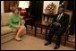 Laura Bush meets with President Benjamin Mkapa at the Presidential Residence in Dar Es Salaam, Tanzania, Wednesday, July 13, 2005. Mrs. Bush is visiting Africa to highlight U.S. aid and partnerships promoting programs for girls' education, HIV/AIDS awareness and women's empowerment. White House photo by Krisanne Johnson