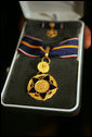 The Medal of Valor is awarded to public safety officers cited by the Attorney General for extraordinary courage above and beyond the call of duty. The Public Safety Officer Medal of Valor Act is the highest national award for valor by a public safety officer. Recipients of the 2005 award were honored during a ceremony Thursday, July 14, 2005, in the Dwight D. Eisenhower Executive Office Building. White House photo by David Bohrer