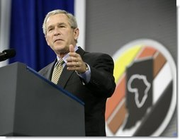 President George W. Bush delivers remarks during the Indiana Black Expo Corporate Luncheon in Indianapolis, Indiana, Thursday, July 14, 2005.  White House photo by Eric Draper