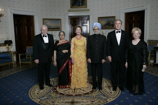 President George W. Bush and Laura Bush with Prime Minister Manmohan Singh of India and Mrs. Gursharan Kaur, before dinner in honor of their official visit Monday, July 18, 2005, at the White House. With Vice President Dick Cheney and Lynne Cheney. White House photo by Eric Draper