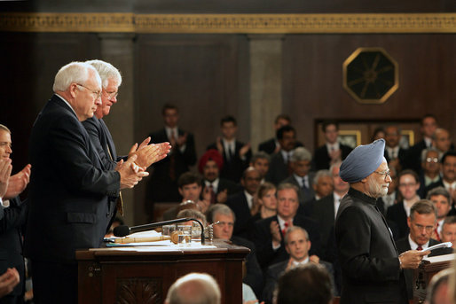 Vice President Dick Cheney and Speaker of the House Dennis Hastert applaud Prime Minister Dr. Manmohan Singh of India after he addresses a Joint Meeting of Congress at the U.S. Capitol Tuesday, July 19, 2005. White House photo by David Bohrer