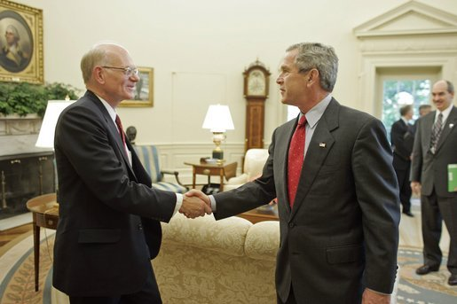 President George W. Bush welcomes U.S. Ambassador to Afghanistan Ronald Neumann to the Oval Office July 20, 2005. White House photo by Paul Morse