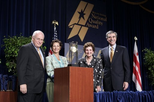 Vice President Dick Cheney and Commerce Secretary Carlos Gutierrez, far right, stand with representatives of The Bama Companies, Inc., which is one of four companies awarded the Malcolm Baldrige National Quality Award during a ceremony in Washington, D.C., Tuesday, July 20, 2005. White House photo by Paul Morse