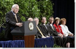 Vice President Dick Cheney addresses recipients and guests during the presentation ceremony of the 2004 Recipients of the Malcolm Baldrige National Quality Award in Washington, D.C., Tuesday, July 20, 2005.  White House photo by Paul Morse