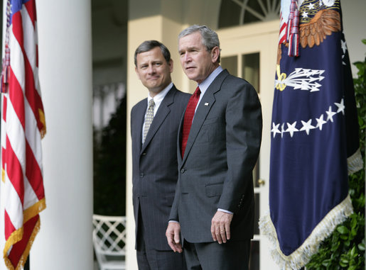 President George W. Bush stands with Judge John G. Roberts, his nominee to the Supreme Court, in the Rose Garden Wednesday morning, July 20, 2005, at the White House. White House photo by Eric Draper