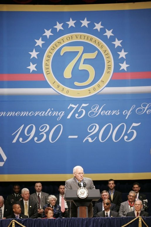 Vice President Dick Cheney addresses an audience, Thursday, July 21, 2005 at Constitution Hall in Washington, during the 75th anniversary celebration honoring the creation of the Department of Veterans Affairs. White House photo by Paul Morse