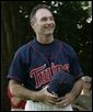 Minnesota Twins baseball star Paul Molitor is introduced to the crowd Sunday, July 24, 2005, at a Tee Ball game on the South Lawn of the White House, where he participated as first base coach. White House photo by Paul Morse