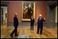 "President and Mrs. Bush receive a tour of the Gilbert Stuart Exhibition at the National Gallery of Art from Earl ""Rusty"" Powell III, gallery director Monday, July 25, 2005, in Washington. White House photo by Krisanne Johnson"