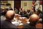 President George W. Bush meets with African American leaders Monday, July 25, 2005, in the Roosevelt Room of the White House to discuss key issues and to announce the corporate and philanthropic summit to be held in March 2006. White House photo by Krisanne Johnson
