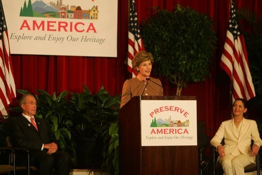 Laura Bush addresses an audience July 26, 2005 at a Preserve America neighborhoods event at the East Literature Magnet School in Nashville, Tennessee. White House photo by Krisanne Johnson